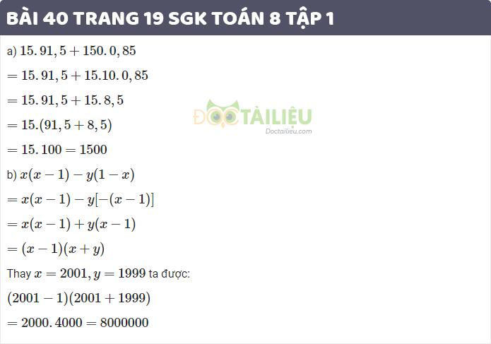 giải bài 40 sgk toán 8 tập 1 trang 19