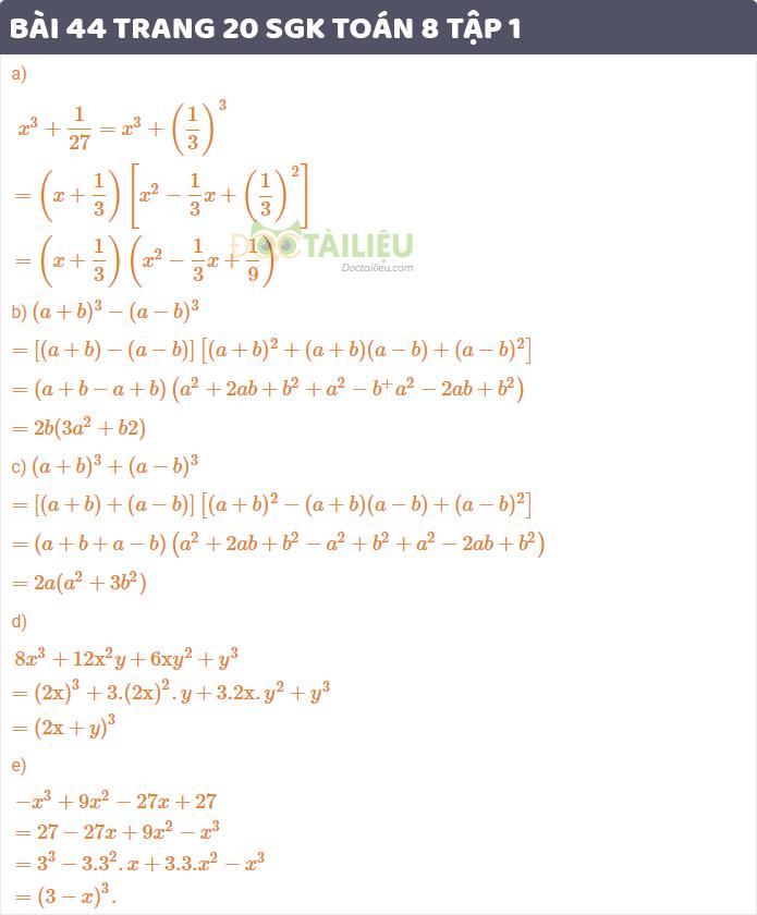giải bài 44 sgk Toán 8 tập 1 trang 20