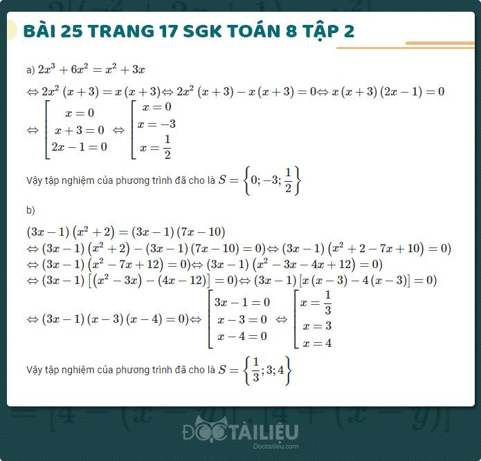 giải bài 25 sgk Toán 8 tập 2 trang 17