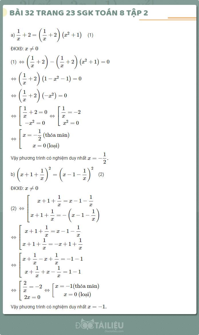giải bài 32 sgk Toán 8 tập 2 trang 23
