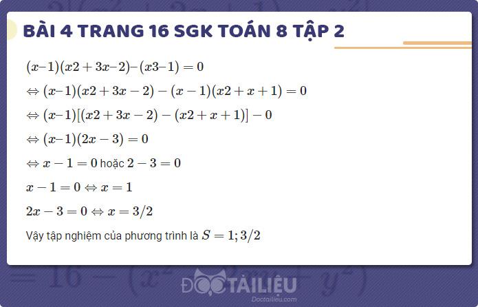 giải bài 4 sgk Toán 8 tập 2 trang 16