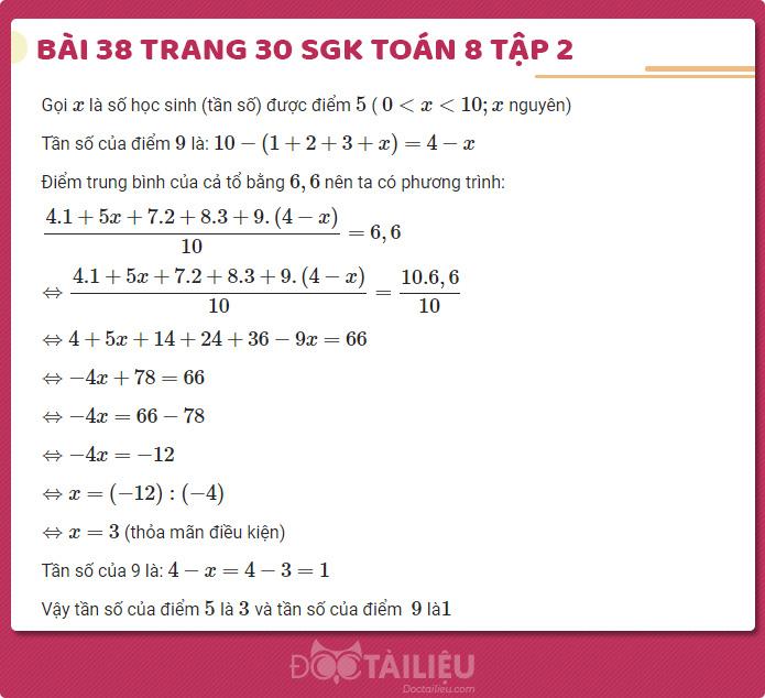 Giải bài 38 sgk Toán 8 tập 2 trang 30