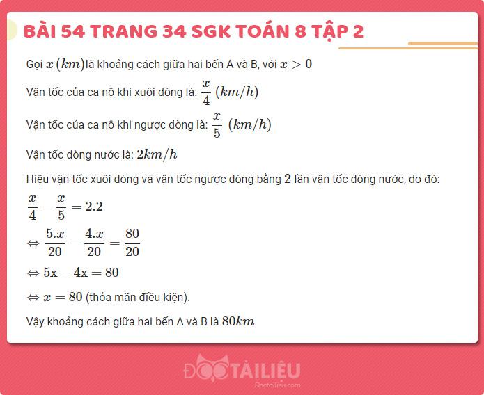 giải bài 54 sgk Toán 8 tập 2 trang 34