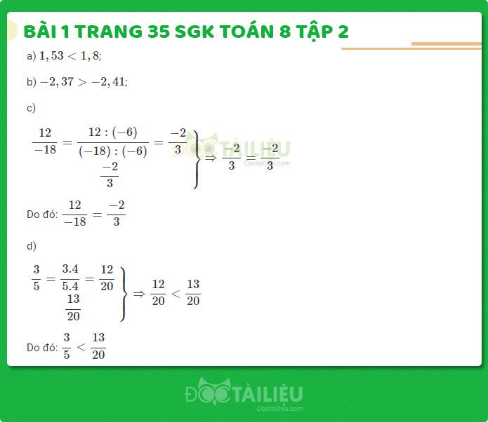 Hướng dẫn giải bài 1 sgk Toán 8 tập 2 trang 35