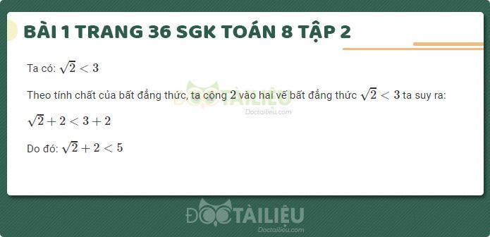 Hướng dẫn giải bài 1 sgk Toán 8 tập 2 trang 36