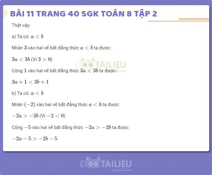 Hướng dẫn giải bài 11 sgk Toán 8 tập 2 trang 40