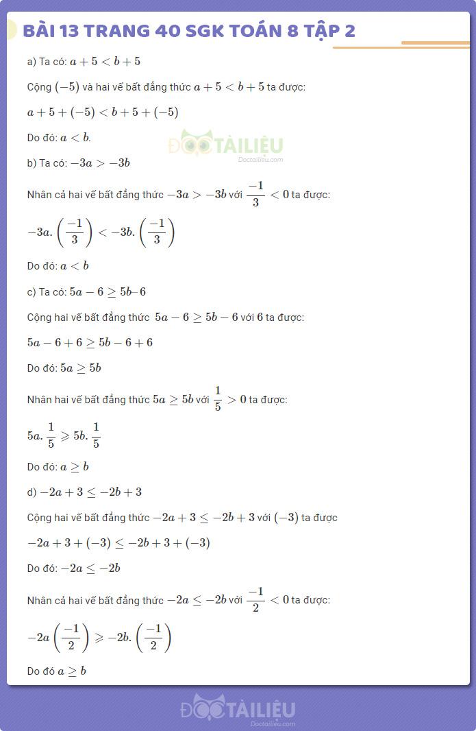 Hướng dẫn giải bài 13 sgk Toán 8 tập 2 trang 40