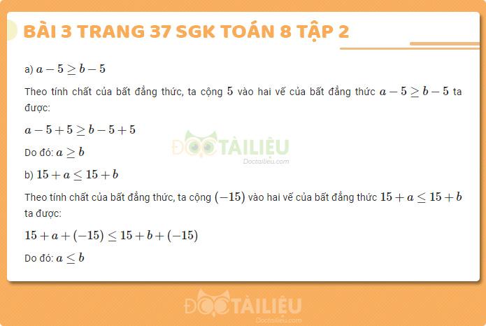 Hướng dẫn giải bài 3 sgk Toán 8 tập 2 trang 37