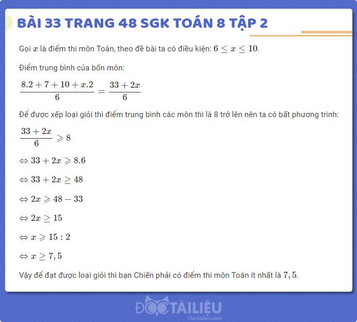 Hướng dẫn giải bài 33 sgk Toán 8 tập 2 trang 48