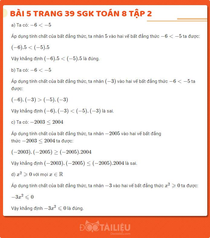 Hướng dẫn giải bài 5 sgk Toán 8 tập 2 trang 39
