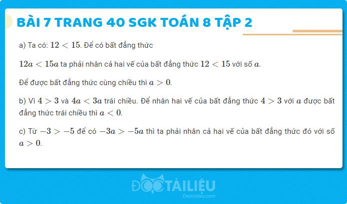 Hướng dẫn giải bài 7 sgk Toán 8 tập 2 trang 40