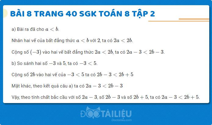 Giải bài 8 sgk Toán 8 tập 2 trang 40