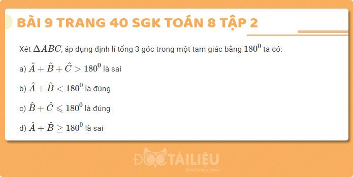 Giải bài 9 sgk Toán 8 tập 2 trang 40