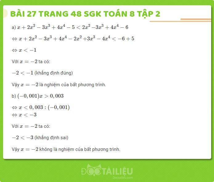 Hướng dẫn giải bài 27 sgk Toán 8 tập 2 trang 48