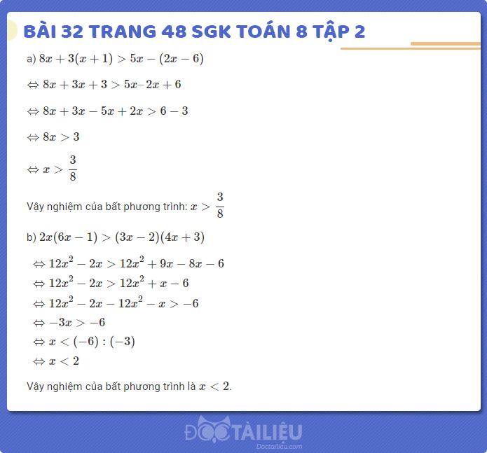 Hướng dẫn giải bài 32 sgk Toán 8 tập 2 trang 48