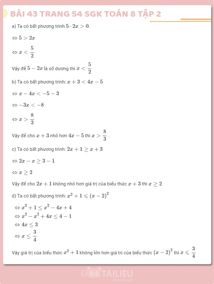 Hướng dẫn giải bài 43 sgk Toán 8 tập 2 trang 53