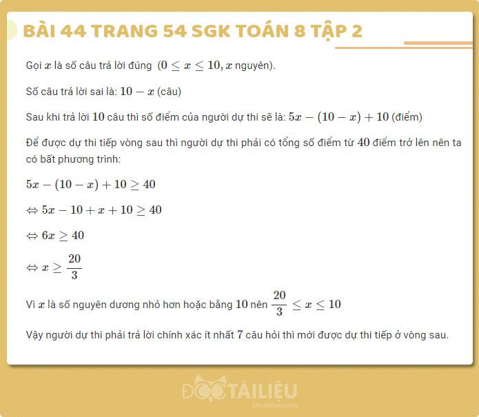 Giải bài 44 sgk Toán 8 tập 2 trang 54