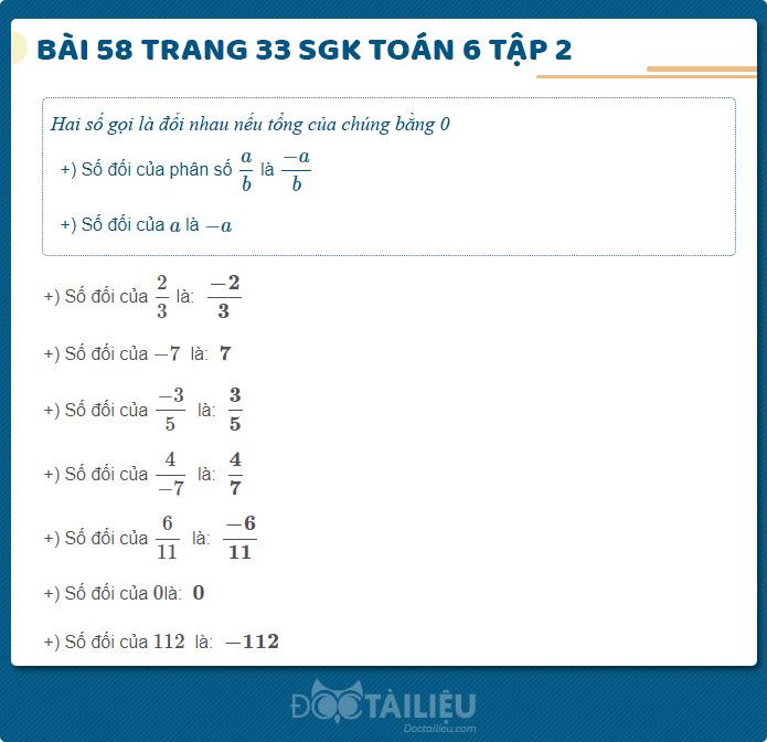 Hướng dẫn giải Bài 58 sgk Toán 6 tập 2 trang 33