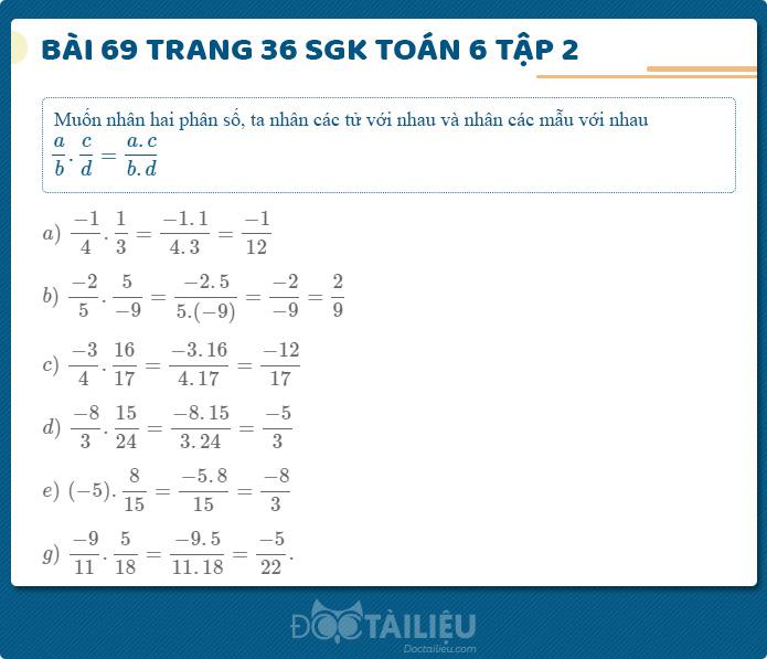 Hướng dẫn giải Bài 69 sgk Toán 6 tập 2 trang 36
