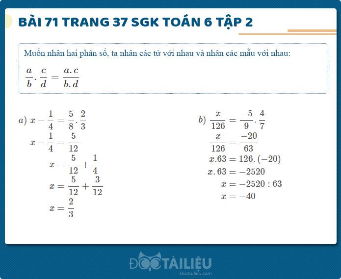 Hướng dẫn giải Bài 71 sgk Toán 6 tập 2 trang 37