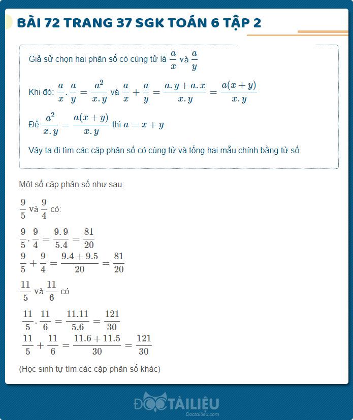 Hướng dẫn giải Bài 72 sgk Toán 6 tập 2 trang 37