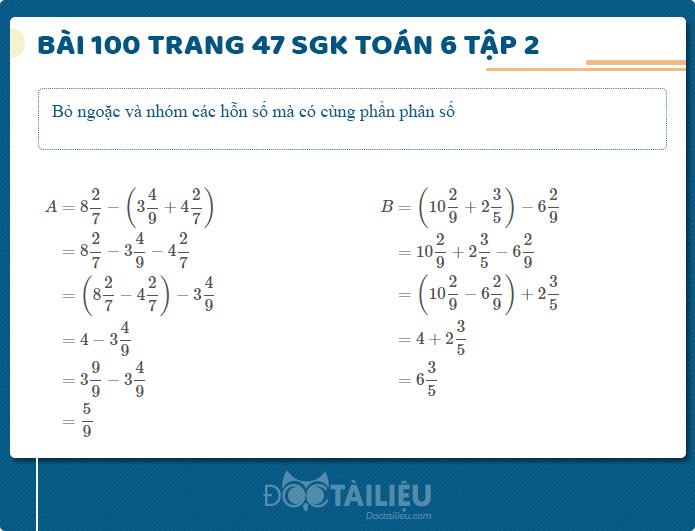 Hướng dẫn giải Bài 100 sgk Toán 6 tập 2 trang 47