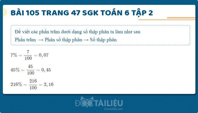 Hướng dẫn giải Bài 105 sgk Toán 6 tập 2 trang 47
