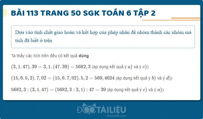 Hướng dẫn giải Bài 113 sgk Toán 6 tập 2 trang 50