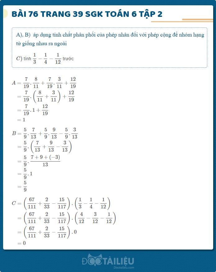 Hướng dẫn giải Bài 76 sgk Toán 6 tập 2 trang 39