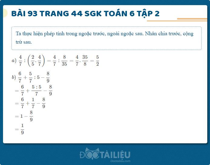 Hướng dẫn giải Bài 93 sgk Toán 6 tập 2 trang 44