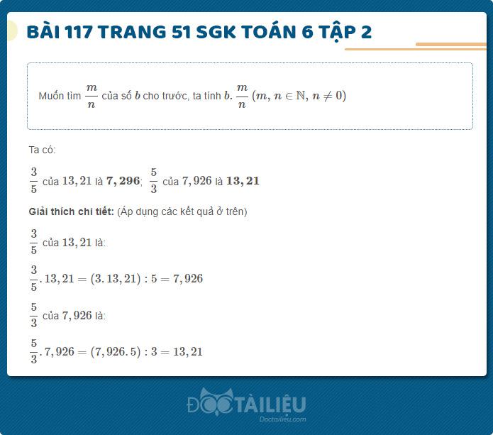 Giải bài 117 trang 51 sgk Toán 6 tập 2