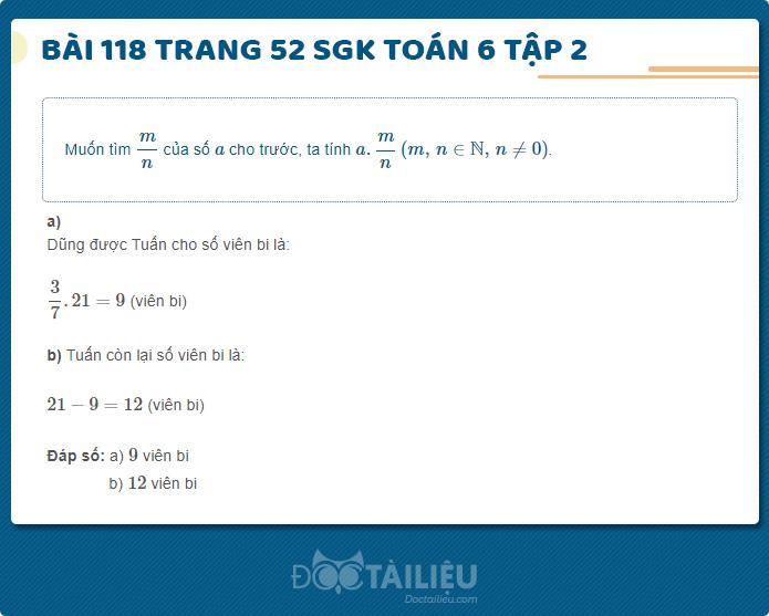 Hướng dẫn giải Bài 118 sgk Toán 6 tập 2 trang 52