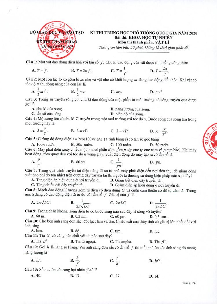 Đề thi tham khảo THPT Quốc gia môn Vật Lý năm 2020 trang 1
