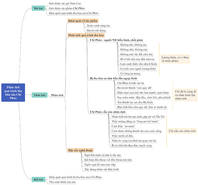 Sơ đồ tư duy phân tích quá trình tha hóa của Chí Phèo