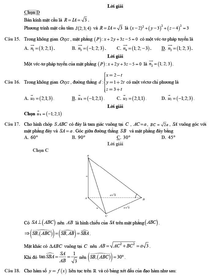 Giải đề thi thử môn Toán 2020 phát triển theo đề minh họa số 1 trang 4