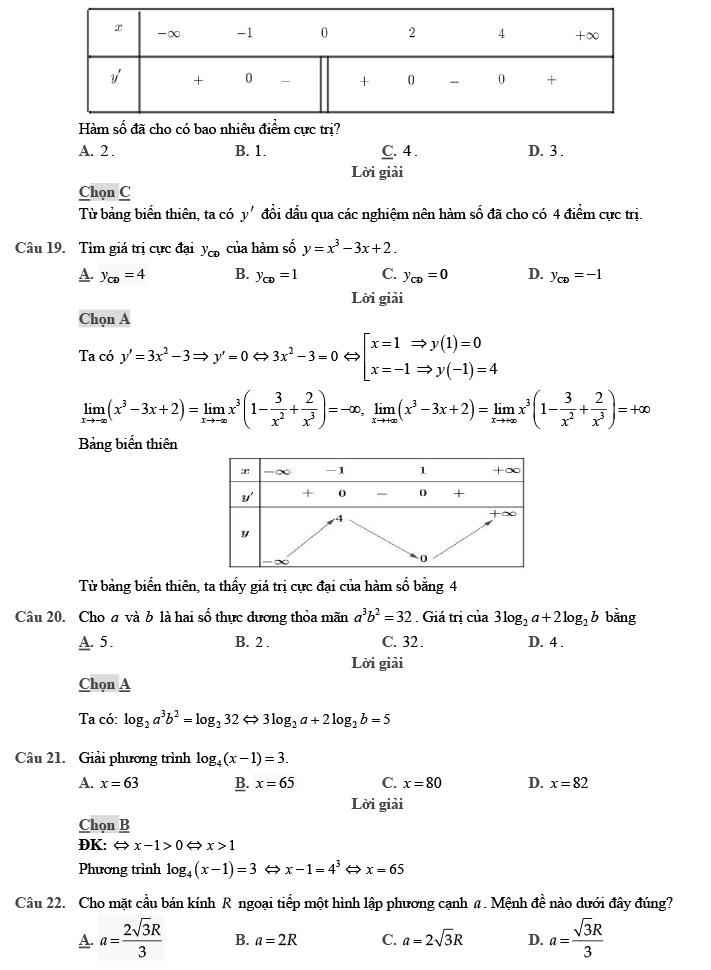 Giải đề thi thử môn Toán 2020 phát triển theo đề minh họa số 1 trang 5