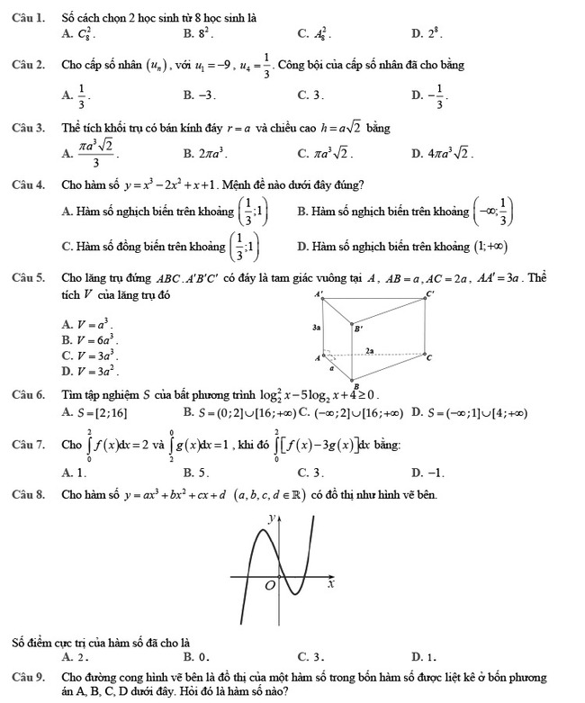 Đề thi thử môn Toán 2020 phát triển theo đề minh họa số 2 trang 1