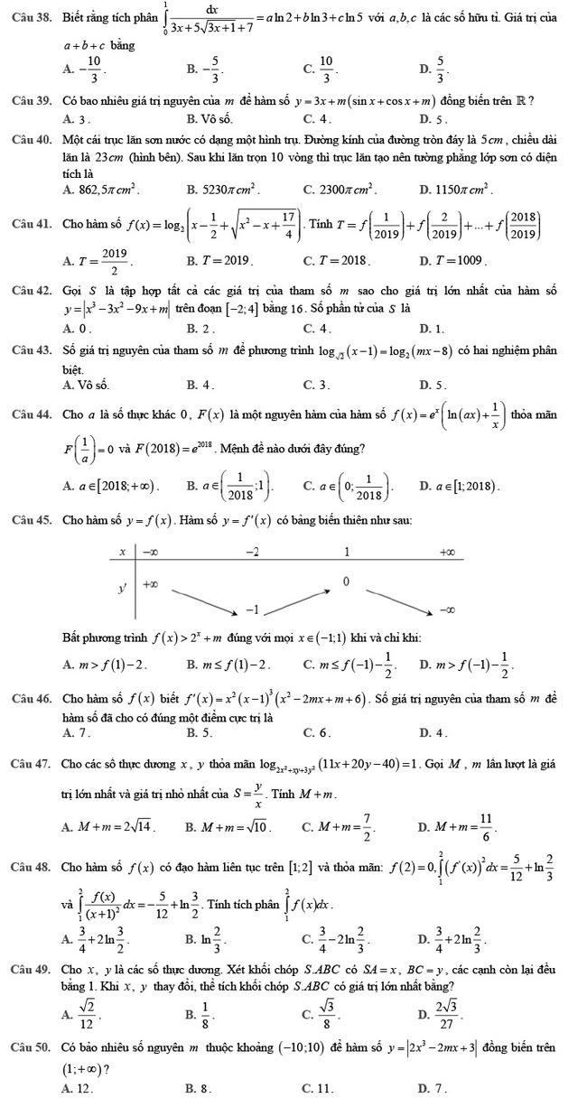 Đề thi thử môn Toán 2020 phát triển theo đề minh họa số 2 trang 5