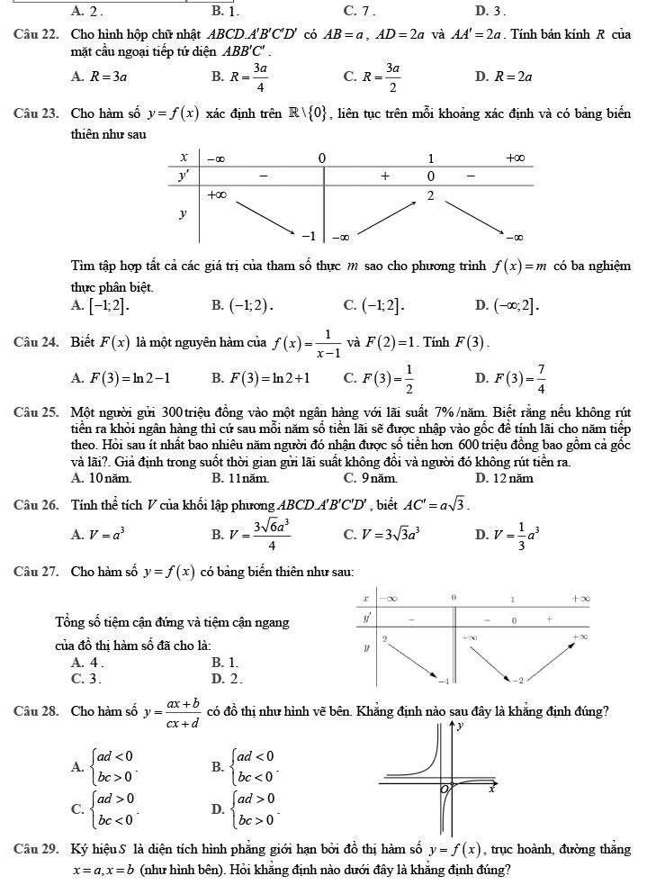 Đề thi thử môn Toán 2020 phát triển theo đề minh họa số 3 trang 3