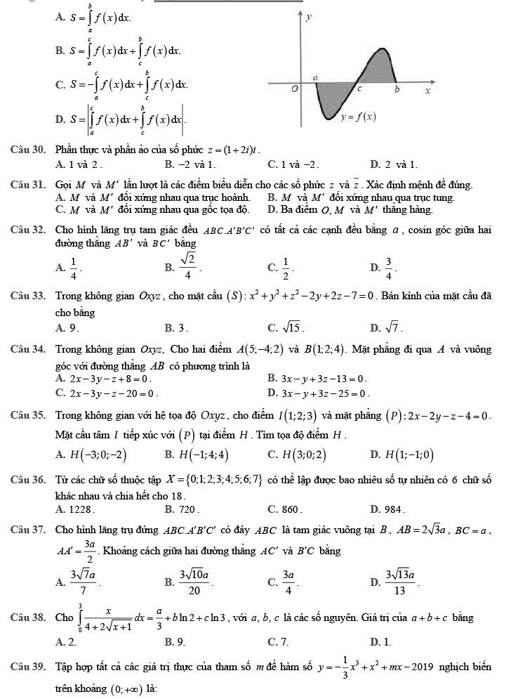 Đề thi thử môn Toán 2020 phát triển theo đề minh họa số 3 trang 4