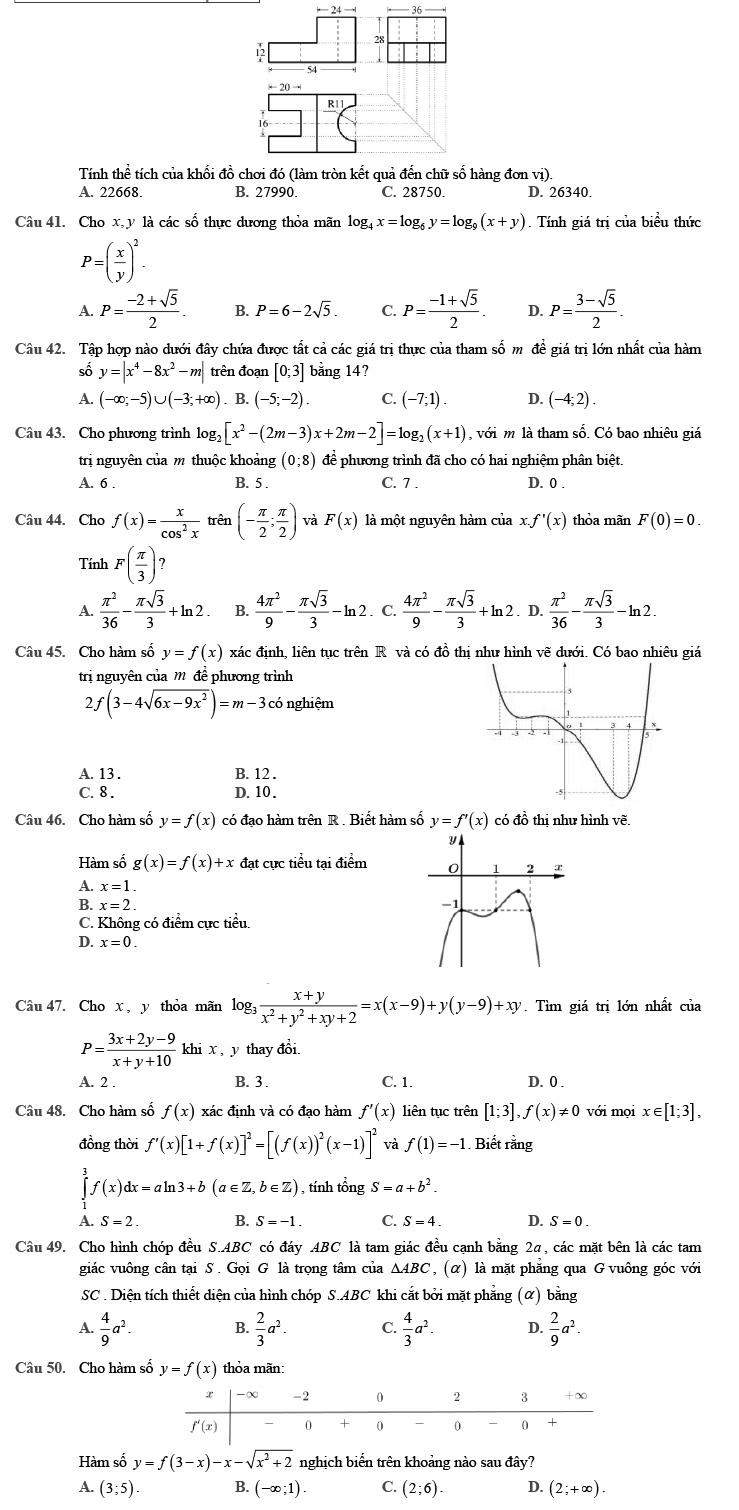 Đề thi thử THPTQG môn Toán 2020 phát triển theo đề minh họa số 4 trang 5