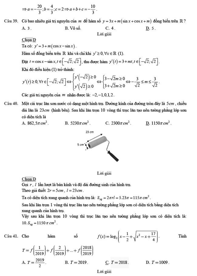 giải đề thi thử môn Toán 2020 phát triển đề minh họa số 2 trang 14