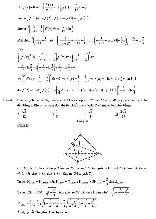 giải đề thi thử môn Toán 2020 phát triển đề minh họa số 2 trang 19