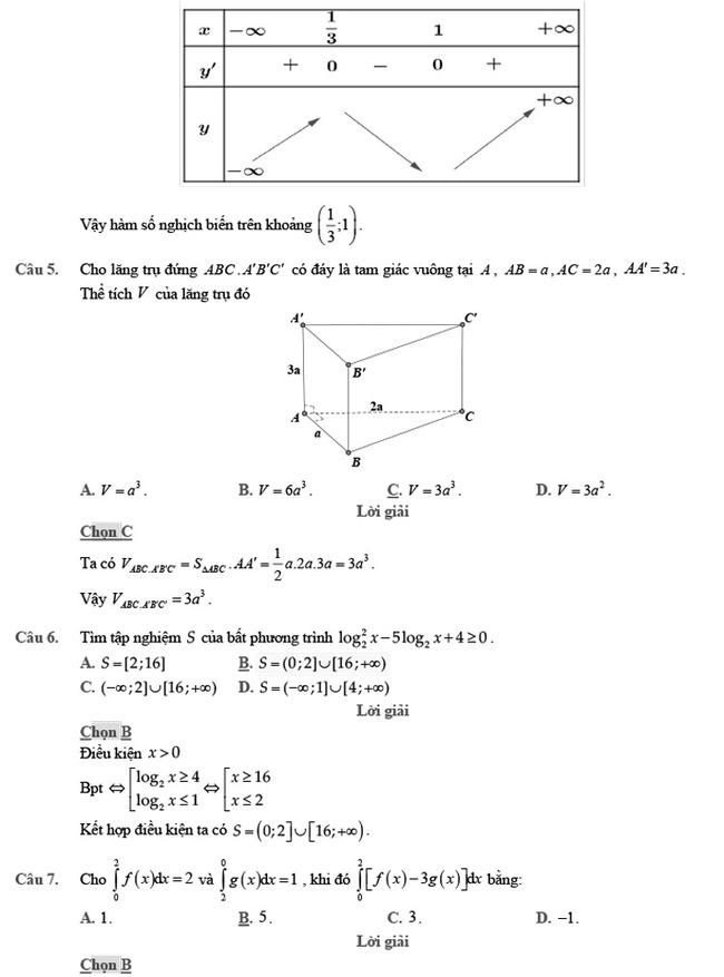 giải đề thi thử môn Toán 2020 phát triển đề minh họa số 2 trang 2
