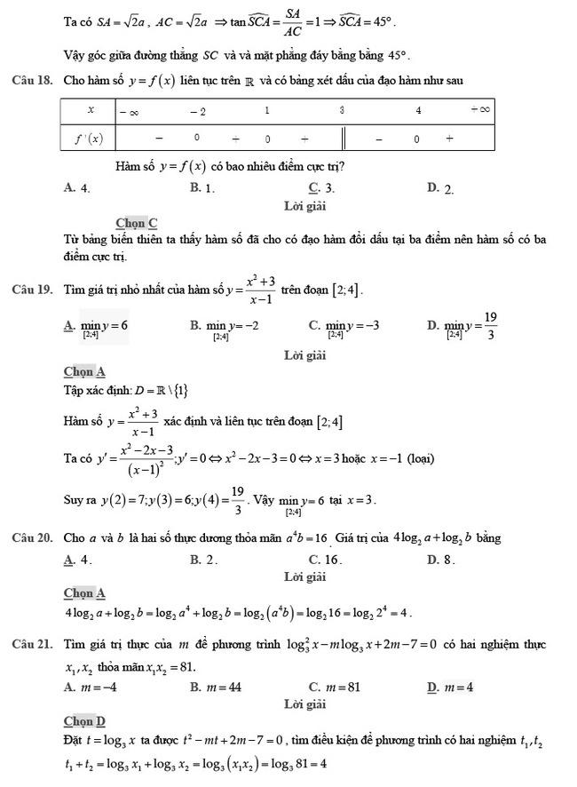 giải đề thi thử môn Toán 2020 phát triển đề minh họa số 2 trang 6