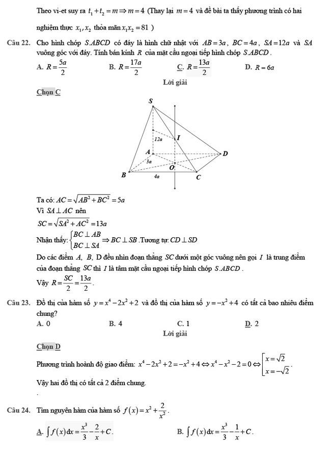 giải đề thi thử môn Toán 2020 phát triển đề minh họa số 2 trang 7