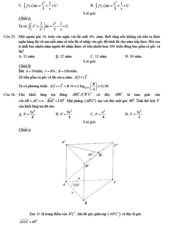 giải đề thi thử môn Toán 2020 phát triển đề minh họa số 2 trang 8