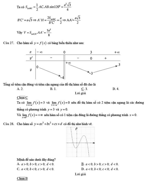 giải đề thi thử môn Toán 2020 phát triển đề minh họa số 2 trang 9