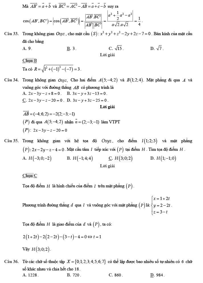 Gỉai đề thi thử môn Toán THPTQG 2020 phát triển theo đề minh họa trang 11