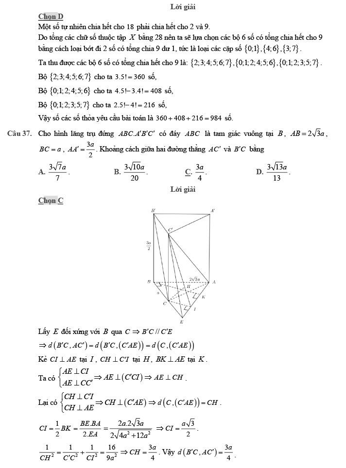 Gỉai đề thi thử môn Toán THPTQG 2020 phát triển theo đề minh họa trang 12